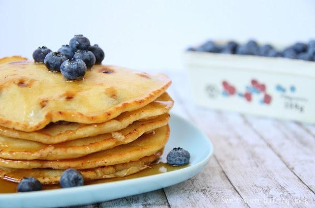 Blaubeer Pancakes mit Stevia, zuckerfrei - by Kathy Loves