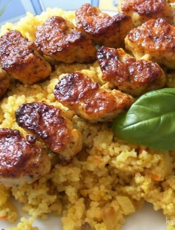Curry-Couscous mit Putenspießen - by Kathy Loves