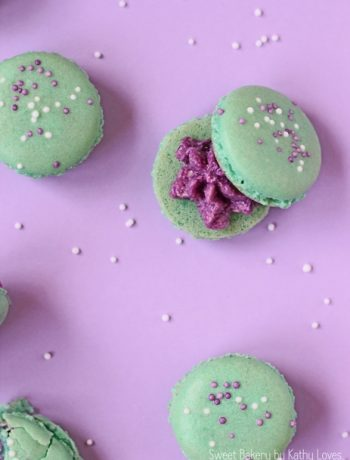 Color Pop Macarons - Heidelbeer Buttercreme Macarons by Kathy Loves