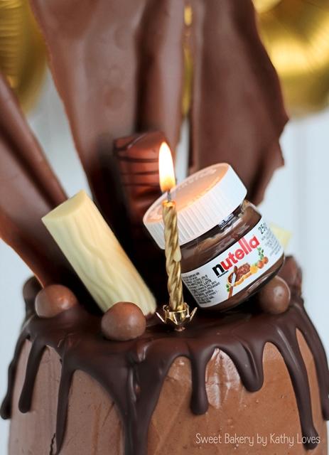 Schoko-Kirsch-Torte Geburtstag Nutella Drip Cake by Kathy Loves