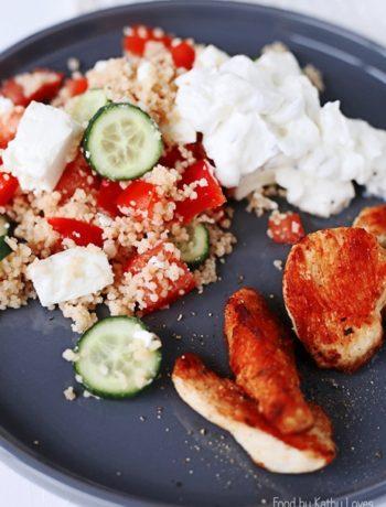 Couscous Salat mit gepfeffertem Hühnchen - Food by Kathy Loves
