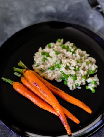 Erbsen-Risotto mit glasierten Möhren Vegetarisch Schnelle Küche