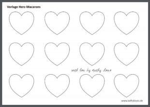 Valentinstag Herz Macarons Vorlage zum Ausdrucken