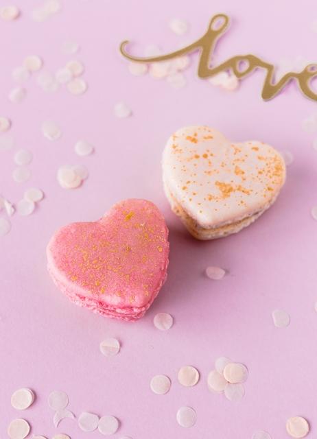 Valentinstag Herz Macarons mit Vorlage