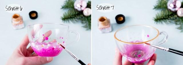 DIY Teetasse mit Glasfarbe Last Minute Geschenk - Weihnachten