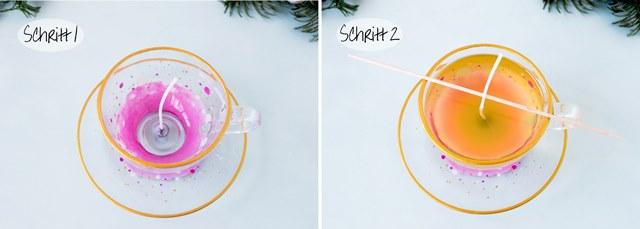 DIY Teetasse mit Kerze Glasfarbe Last Minute Geschenk - Weihnachten