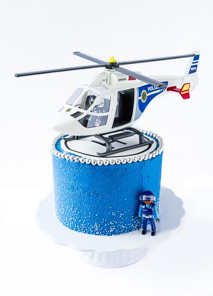 Polizei Hubschrauber Torte mit Landeplatz aus bedrucktem Fondant - Kindergeburtstag Playmobil City Polizei
