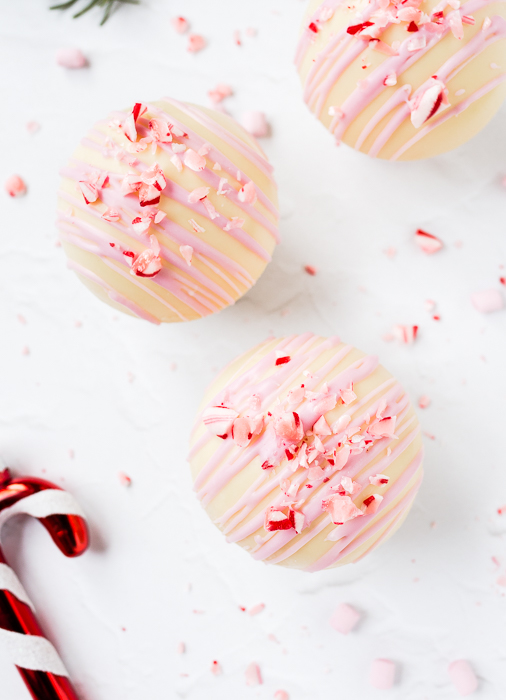 White Hot Chocolate Bombs with Candy Cane